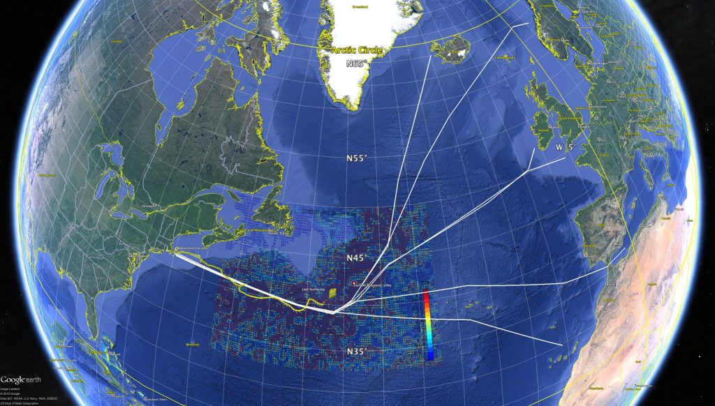 Silbos track on the North Atlantic Crossing